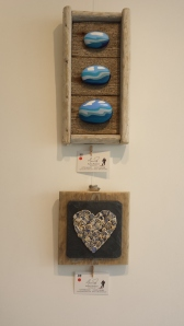 Their first collaboration: Jan's pebbles in a frame made by Martin